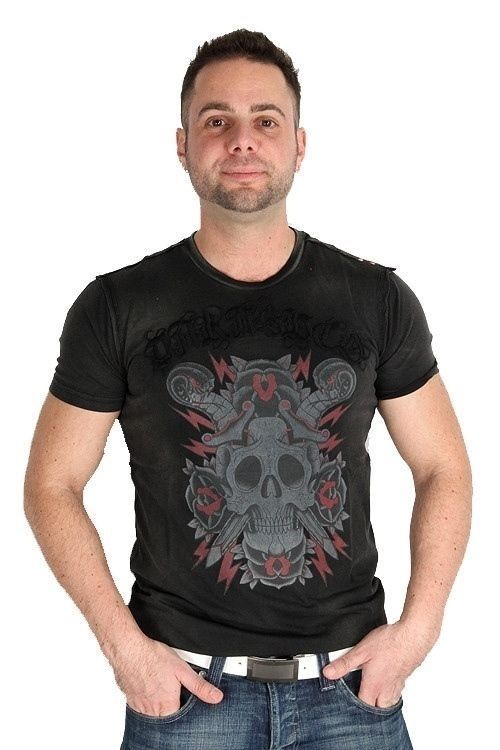 Parasuco Black Vintage Skull Sword Snakes MS0T008 Short Sleeve T-Shirt $84 CAD Now 75% OFF