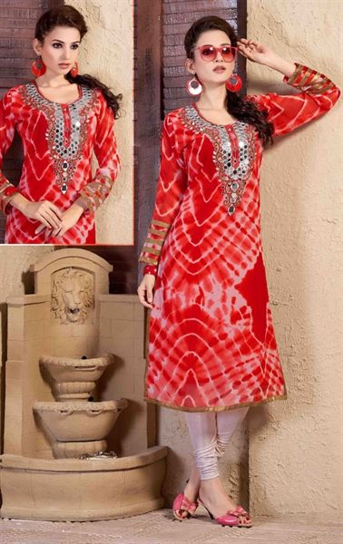 Tempting Red Party Wear Kurti Tunic