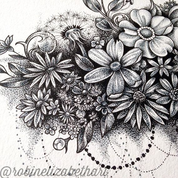 Flowers upon flowers floating like a cloud dripping with black and grey dots. This design was painstakingly stippled over many hours with