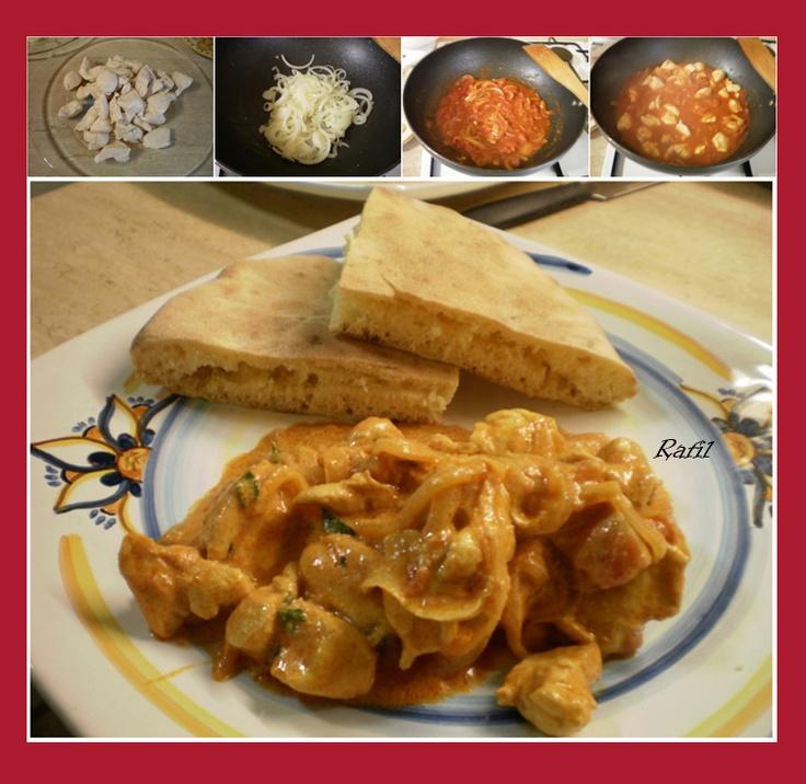 Zuppa e Pan bagnato di Rafil: Bocconcini di pollo con yogurt greco e paprika