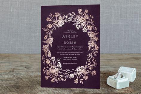 """Posies"" - Floral & Botanical, Rustic Foil-pressed Wedding Invitations in Honey by Phrosne Ras."