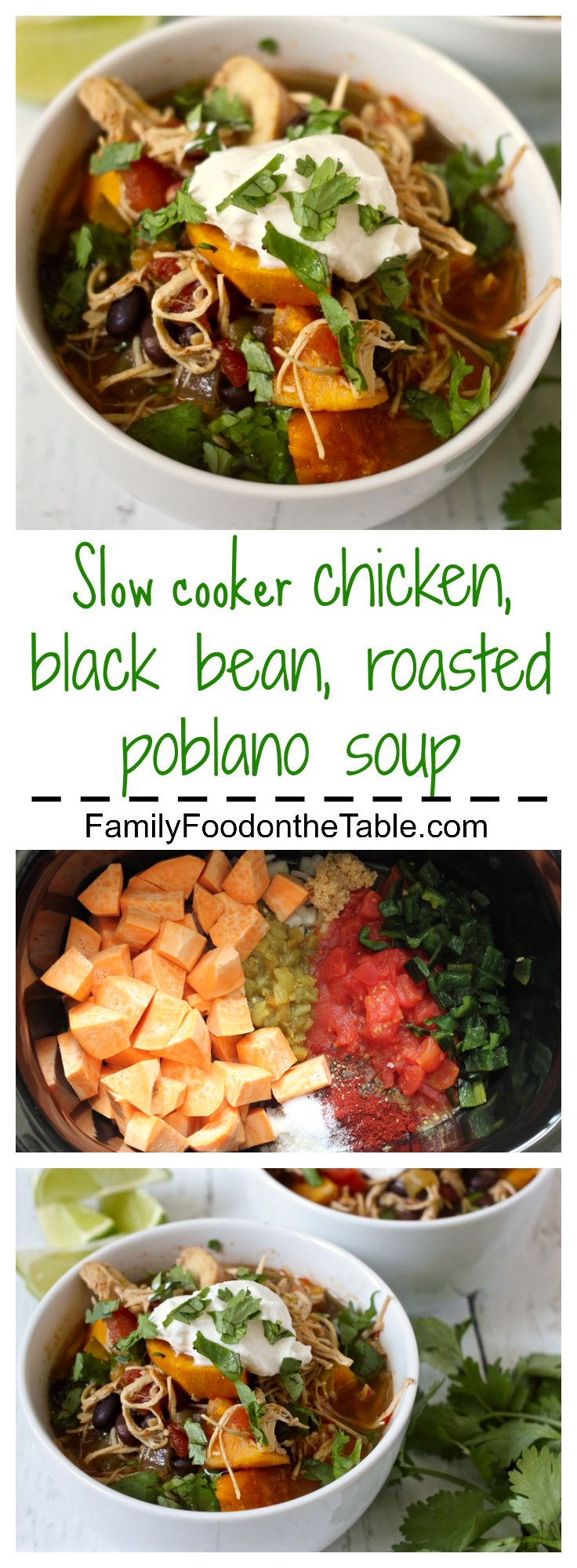 An easy slow cooker soup with chicken, black beans, sweet potatoes and roasted poblano! | FamilyFoodontheTable.com