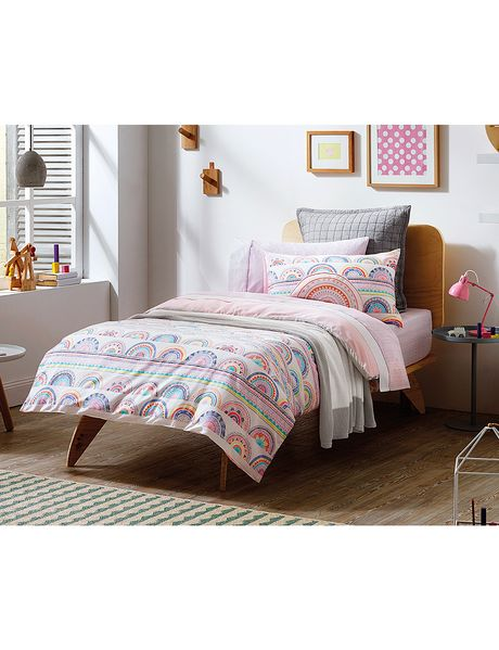 Inspired by memories of eating cool watermelon down at the beach, the playful crayon design that features on this quilt cover set was hand-drawn in the Sheridan Sydney design studio.