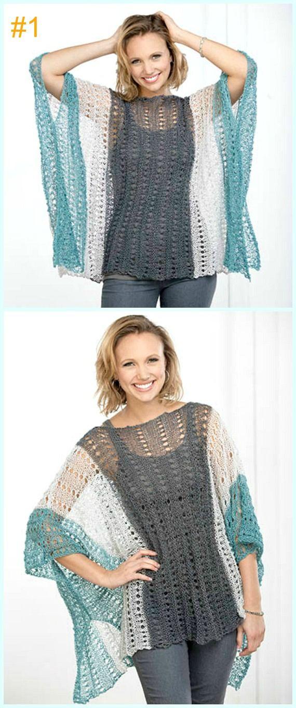 8d72e4d6d3 Crochet Eyelet Summer Poncho Free Pattern-Light Weight Spring Summer  #Poncho; Free #Crochet; Patterns