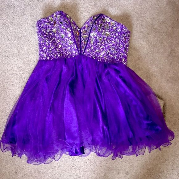 Purple Homecoming Dress Worn twice but still in perfect condition. beaded top and corset back. perfect for homecoming/prom dances Dresses Strapless