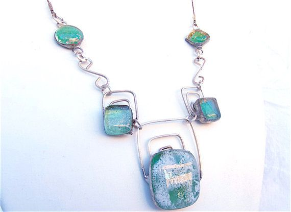"""#etsyfinds #jewelry #glass #silver #artisan #unique #giftidea CODE """"FRIENDS"""" 25% OFF!!! Green and white necklacelight greengreen gold by Dartisanglass"""