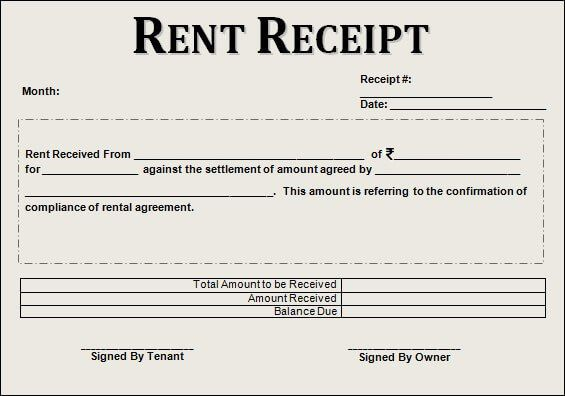 Image result for rent receipt India