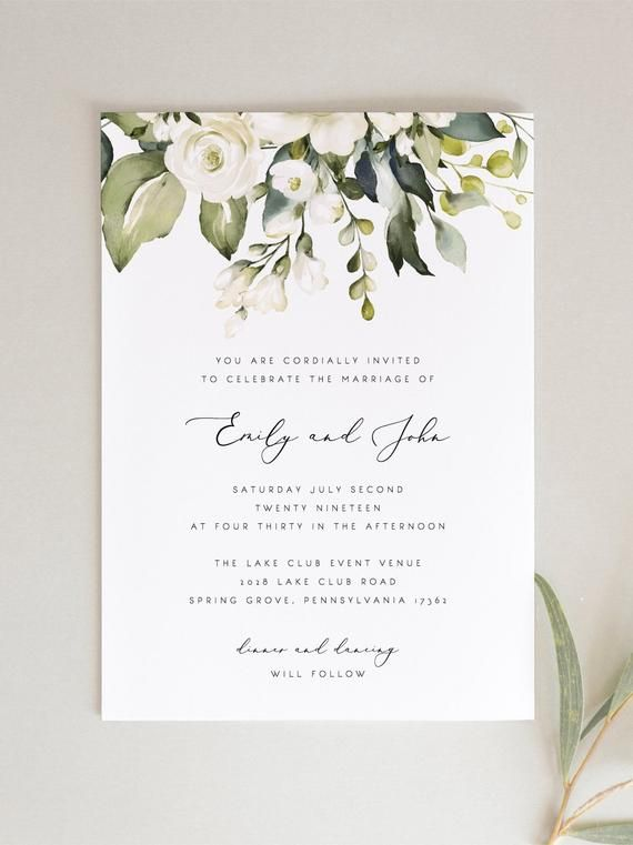 White Floral Wedding Invitation Set Template Greenery White Etsy Flower Wedding Invitation Floral Wedding Invitations Wedding Invitation Sets