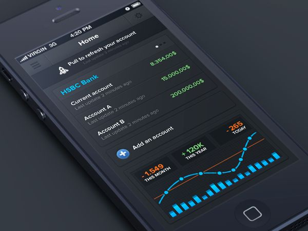 Banking iphone app by Anthony Aubertin, via Behance