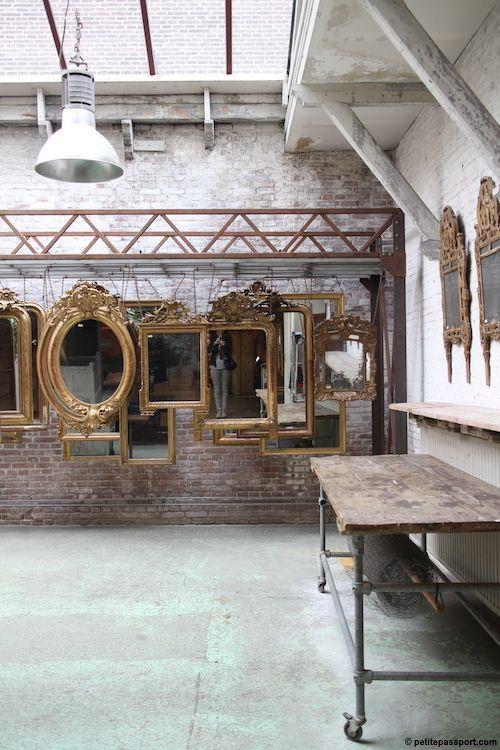 gold mirrors.