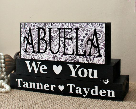 Abuela Gift - Personalized Abuela Blocks - Spanish Grandmother Gift - Mothers Day Present - Abuela Birthday Gift - Home Decor Blocks