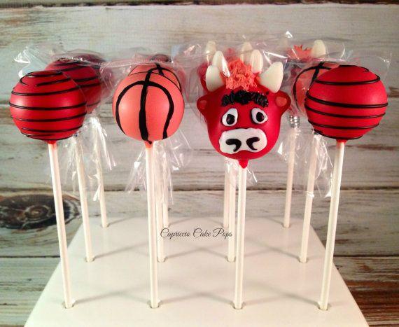 Chicago Bulls inspired cake pops by Capricciocakepops on Etsy
