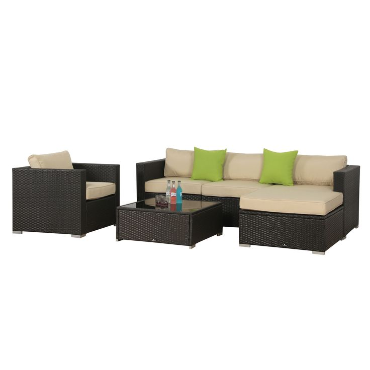 Perfect BroyerK 6 Piece Beige Outdoor Rattan Patio Furniture Set | Overstock.com  Shopping