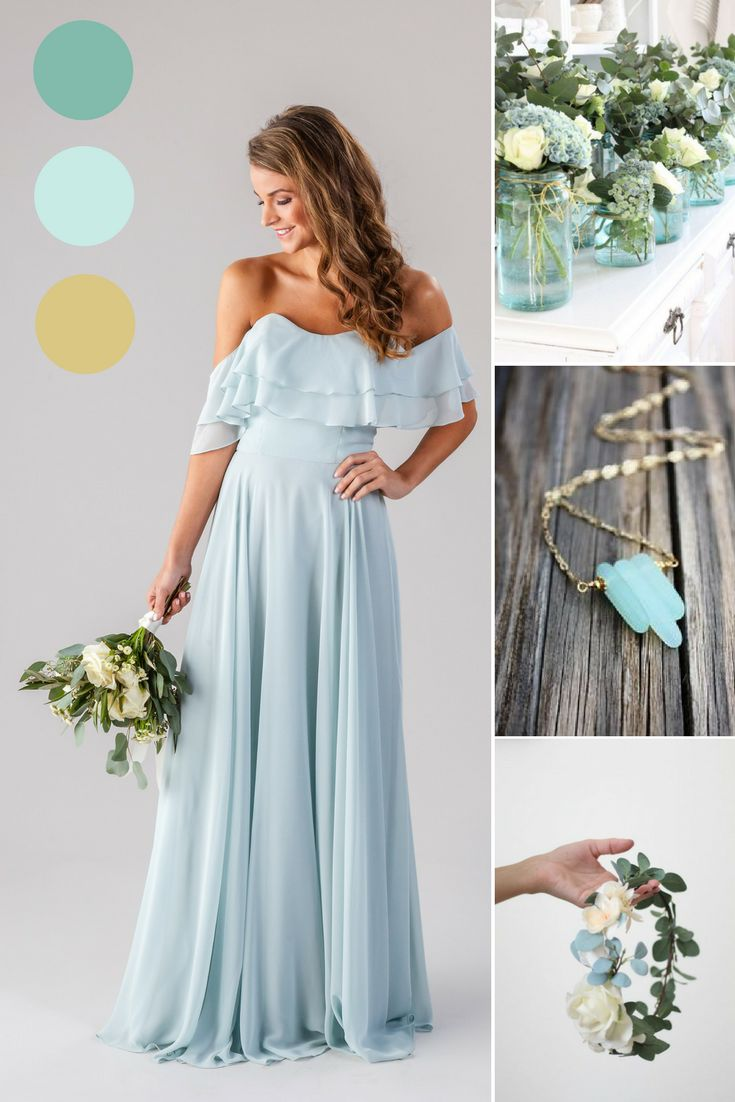 Seaglass | Blue and Gold Wedding | Seafoam Green | Boho Bridesmaid Dresses | Allison | Kennedy Blue