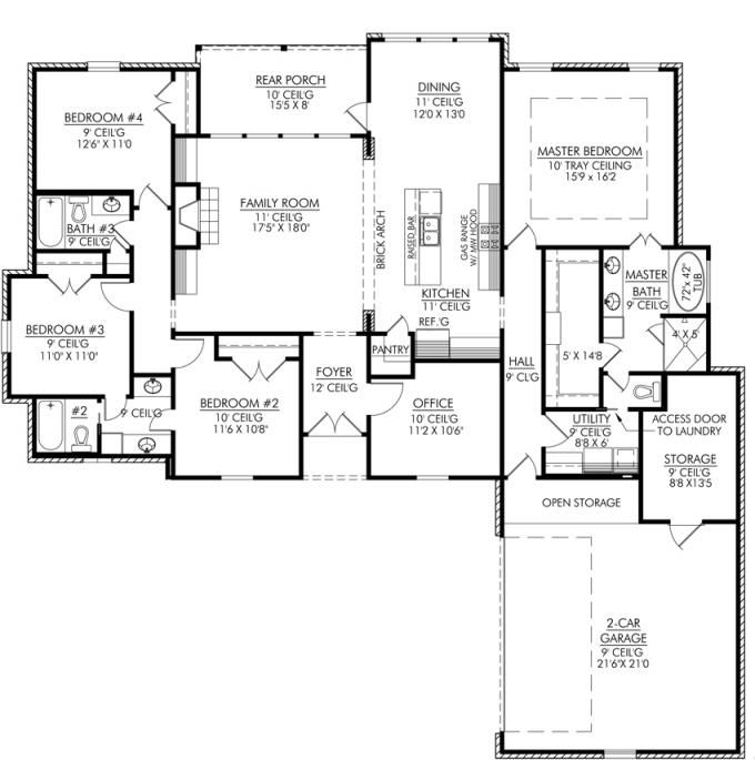 653665 4 bedroom 3 bath and an office or playroom house plans - 4 Bedroom House Floor Plans