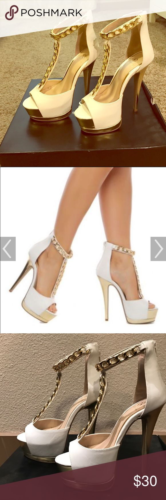 White and gold heels Open-toed white and gold high heels with ankle chain embellishment. Note the heel and the platform are very high. Brand-new never worn before. Shoe Dazzle Shoes Heels