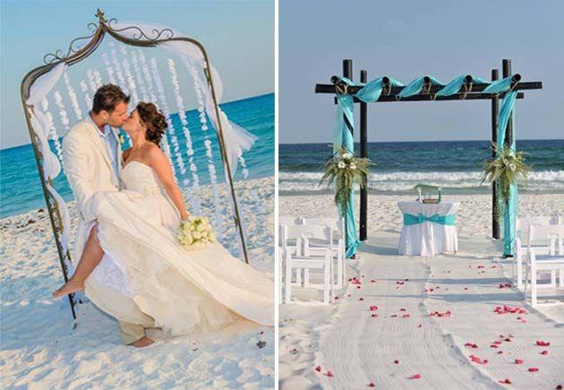 невеста и жених на пляже