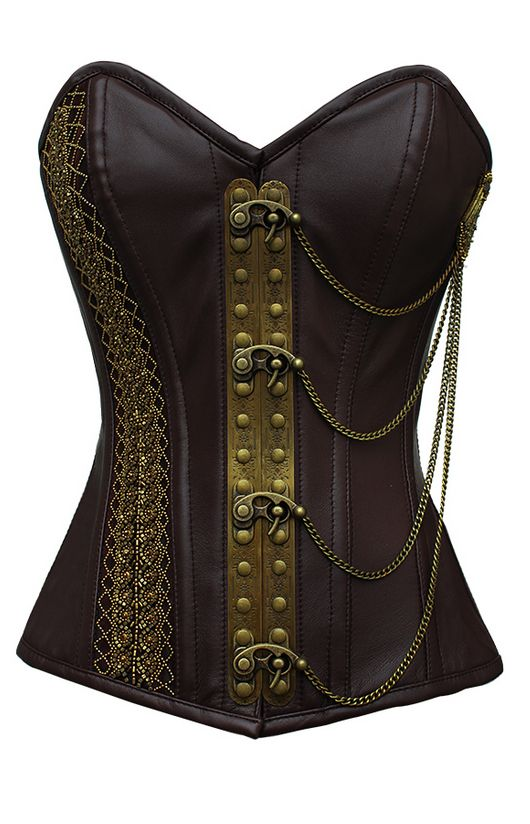 Brown leather steampunk corset real leather