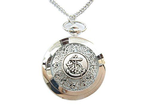 Ancient Silver Anchor Steampunk Pocket Watch Nautical Pirates inspired Pocket Watch with Chain - http://www.jewelryfashionlife.com/ancient-silver-anchor-steampunk-pocket-watch-nautical-pirates-inspired-pocket-watch-with-chain/