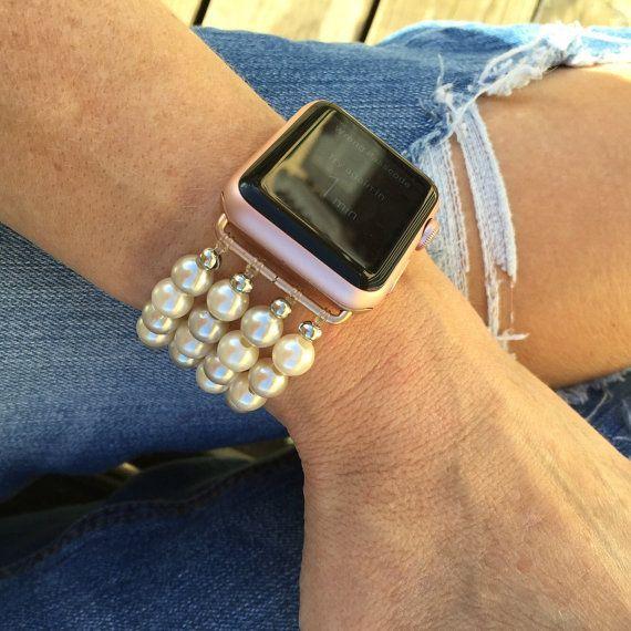 Custom Apple Watch Band Faux Pearl Apple Watch Band Stretch Fit Apple Watch Band Feminine Apple Watch Band Ladies Apple Watch Band Womens