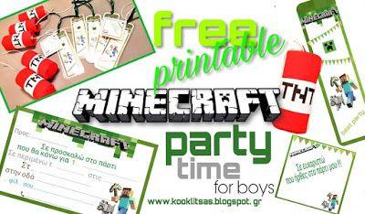 Ιδέες για να οργανώσεις ένα παιδικό πάρτι με θέμα το MINECRAFT... Εκτύπωσε δωρεάν πρόσκληση, ευχαριστήρια κάρτα, σελιδοδείκτη και φτιάξε γλυκούς δυναμίτες TNT...