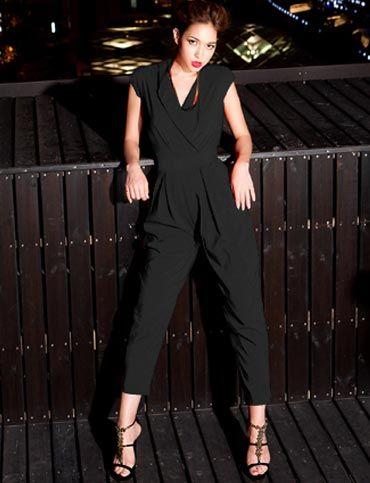 Laconic Pleated Trim Solid Color Wrap Jumpsuits For Women