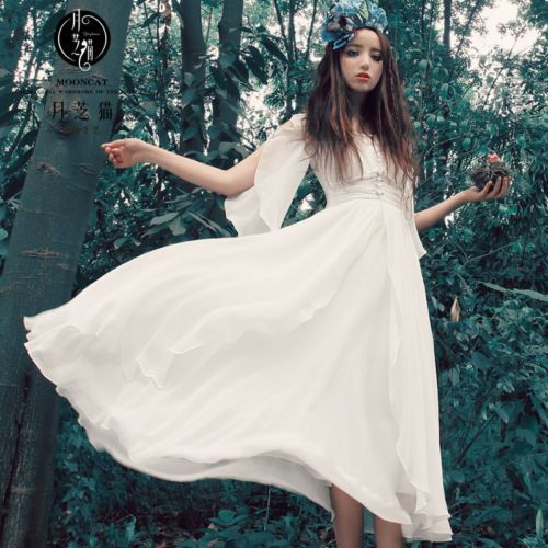 Womens Fairy Chiffon Floral Silk Long Hem Skirt Classical Ethnic Trend Dress New | eBay