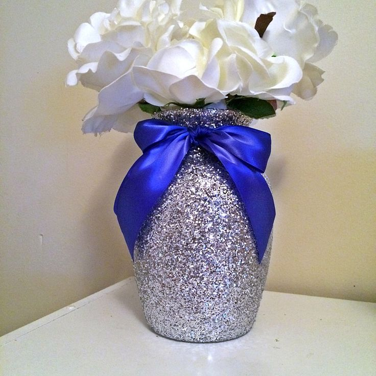 A personal favorite from my Etsy shop https://www.etsy.com/listing/452896578/silver-vases-silver-and-royal-blue-baby