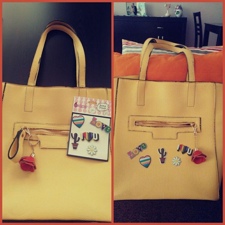 çanta, bag, sarı çanta, yellow bag, çanta süsleme, sticker, ben yaptım, el emeği, kendin yap, diy, do it yourself, diy project, handmade