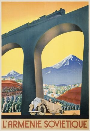 Soviet Armenia - high quality giclee fine art reprint of a 1935 Soviet travel poster designed for the State Travel Company Intourist, available at www.AntikBar.co.uk.
