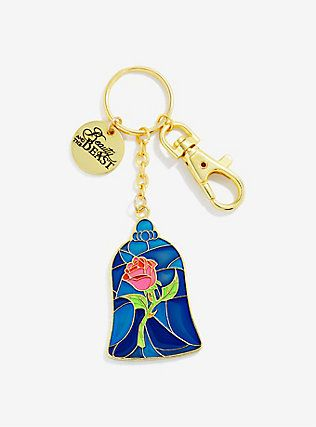 Disney Beauty And The Beast Stained Glass Rose Key Chain,