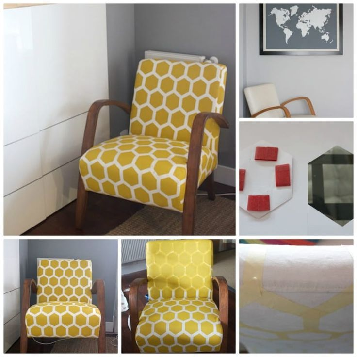 Upholstery not your thing? Revive a fabric chair with paint, tape, and fabric medium instead, as done here.