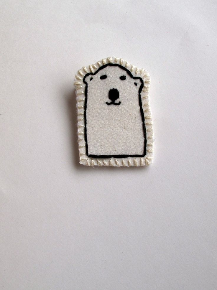 Polar bear brooch hand embroidered attached to card for Valentine's Day kids jewelry party favors by AnAstridEndeavor on Etsy https://www.etsy.com/listing/120006060/polar-bear-brooch-hand-embroidered