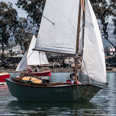 Designed by Bill Short in 1959, the rugged 12-foot Pelican is ideal for the high wind and chop found on San Francisco Bay, where the boat once numbered in the dozens.