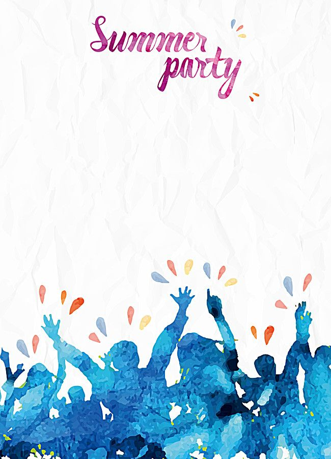 watercolor summer party poster vector background material