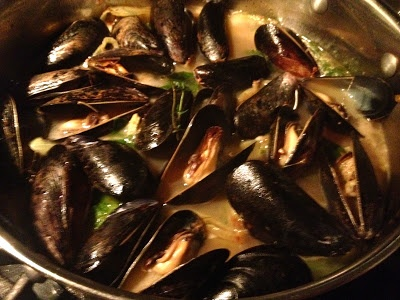 Cake and Bourbon: mussels with bacon, fennel, and white wine