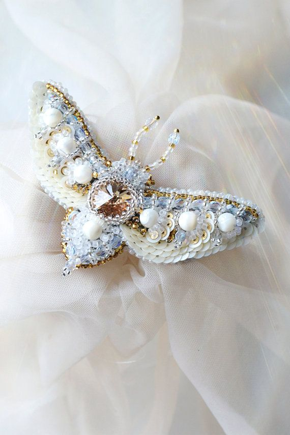 Romantic Moth brooch nature inspired ivory gold summer bridal brooch Gift for bride, 3th anniversary gift designer jewelry exclusive insect