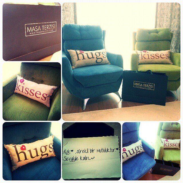 #masaterzisi #hugs #kisses #aşk #sevgi #mutluluk #pillow #yastık #home #homesweethome #ev #koltuk #cute #gift  Bu anlamlı hediye için teşekkürler Masa Terzisi , evimize çok yakıştılar  http://on.fb.me/1MtLybE