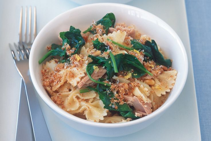 Pasta With Tuna, Spinach, Lemon And Garlic Breadcrumbs Recipe - Taste.com.au