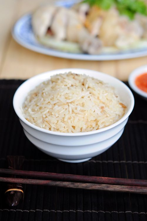 Chicken Rice:  is a dish of Chinese origin most commonly associated with Hainanese Cuisine, Malaysian Cuisine and Singapore Cuisine. It is based on the well-known Hainanese dish called Wenchang chicken (文昌雞). #rice #chicken
