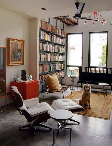 Bookshelves. Livingroom Design Ideas in Eclectic Style