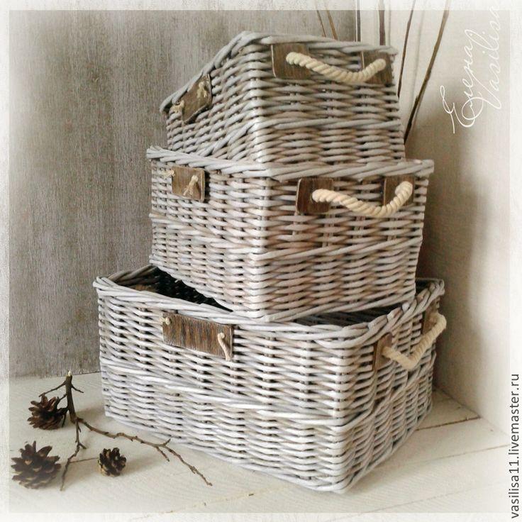 """Купить Набор плетеных коробов """"Стиль"""" (3 шт.) - плетеные короба, корзинки, для хранения"""