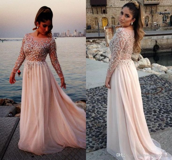 Wholesale Evening Dresses - Buy 2014 Oscar Elie Saab Sexy Long Sleeve Prom Dresses Sheer Beads Lace Appliques Chiffon Cheap Long Sleeve Evening Gowns 2014 Prom Dress, $92.87 | DHgate