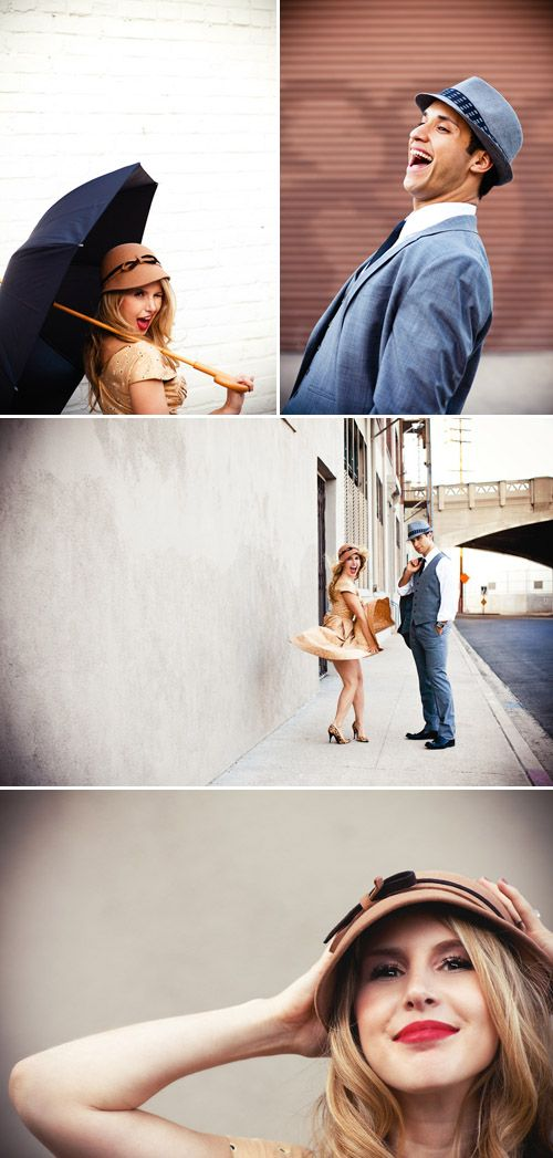 """Singing in the Rain"" Vintage Musical Inspired Engagement Photos by Callaway Gable Photography"