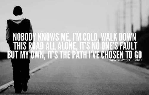 Eminem addiction pain suffering. Nobody knows how anyone really feels until you walk in their shoes.