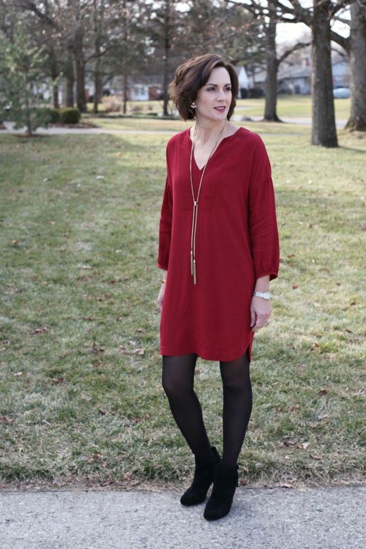 red valentines day dress with black ankle boots