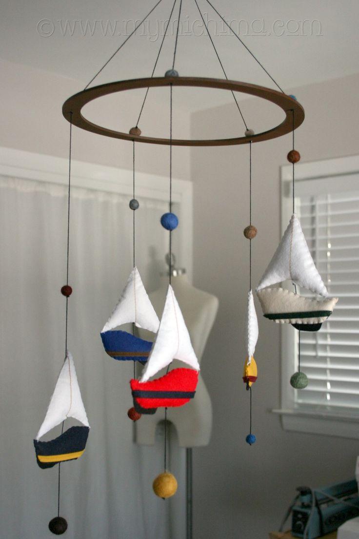 Make Hanging Mobile | Sail Away - Decorative Hanging Mobile - Stuffed Felt Sailboats