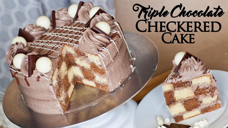 Triple Chocolate Checkered Cake - How To Make A Checkered Cake - YouTube