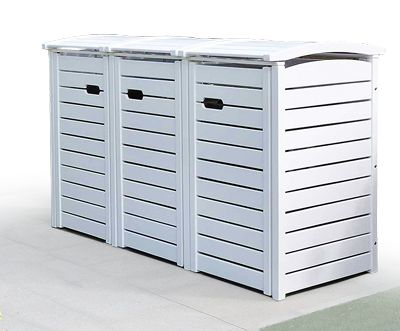 3 x 120 Liter Mülltonnenbox – FSC Hartholz weiss