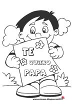 te quiero papa dibujos de el dia del padre para colorear y para imprimir